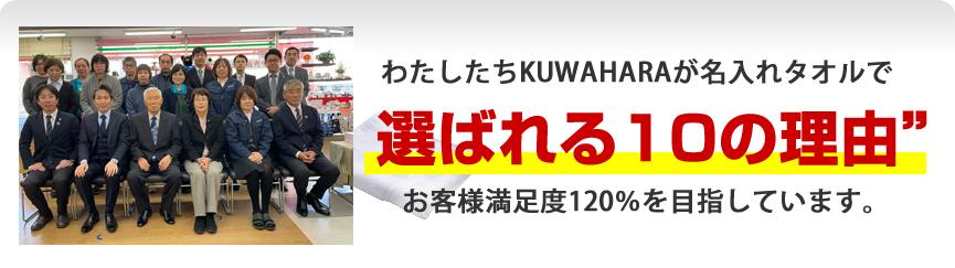 わたしたちKUWAHARAが名入れタオルで選ばれる10の理由 お客様満足度120%を目指しています。